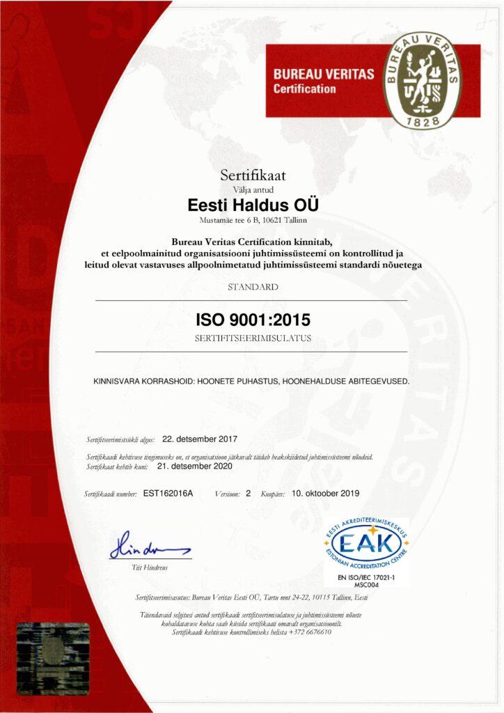 Bureau Veritas Certification ISO 9001:2015 EST162016A