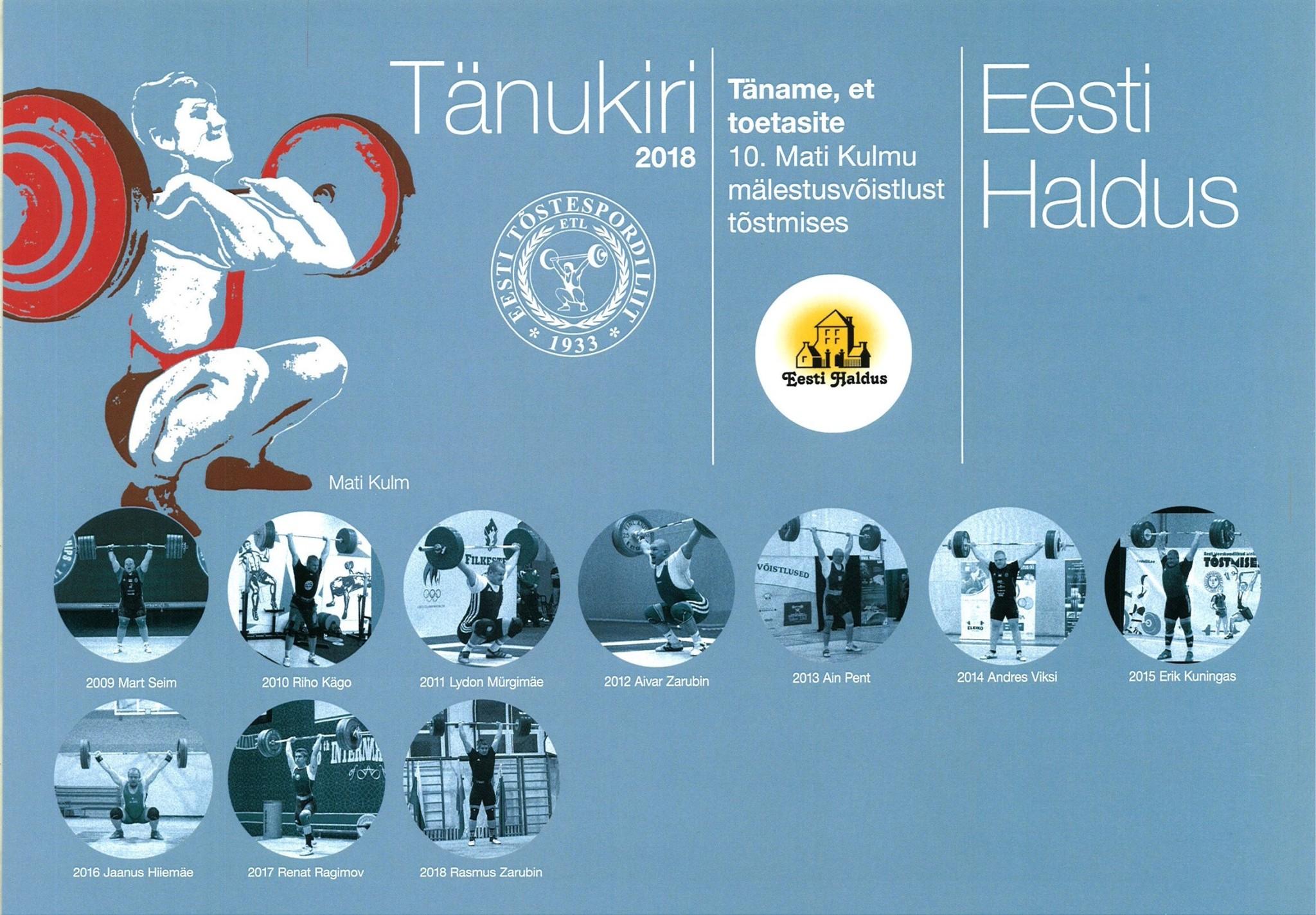 Eesti Tõstespordiliidu tänukiri 2018