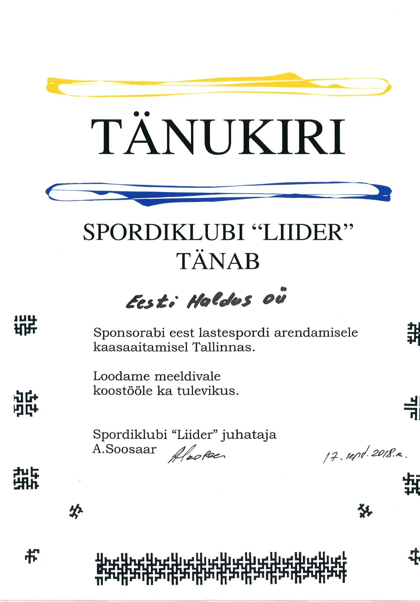 Spordiklubi Liider tänab 2018